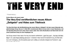 """DEUTSCH: The Very End veröffentlichen neues Album """"Zeitgeist"""" und Video zum Titeltrack - Pressemitteilung (PDF)"""