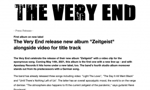 """ENGLISH: The Very End release new album """"Zeitgeist"""" alongside video for title track - Press Release (PDF)"""