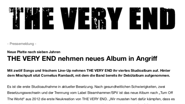 DEUTSCH: The Very End nehmen neues Album in Angriff - Pressemeldung