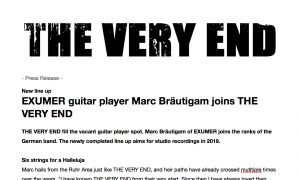 ENGLISH: Exumer guitarist Marc Bräutigam joins The Very End - press release