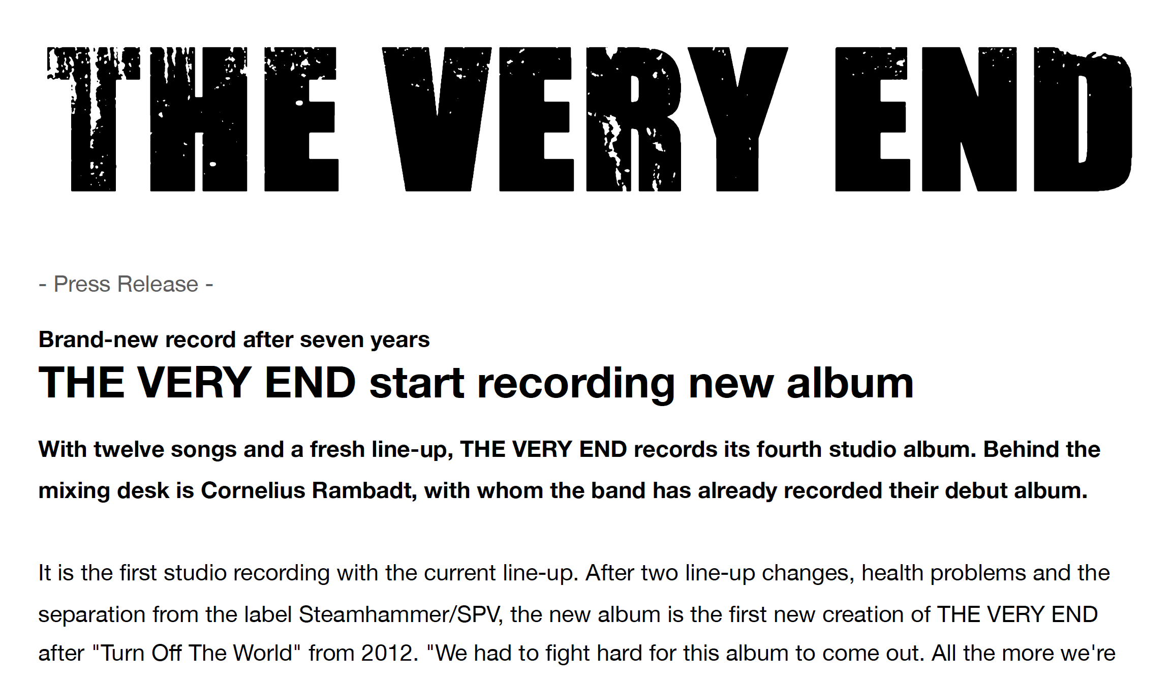 ENGLISH: The Very End start recording new album - press release
