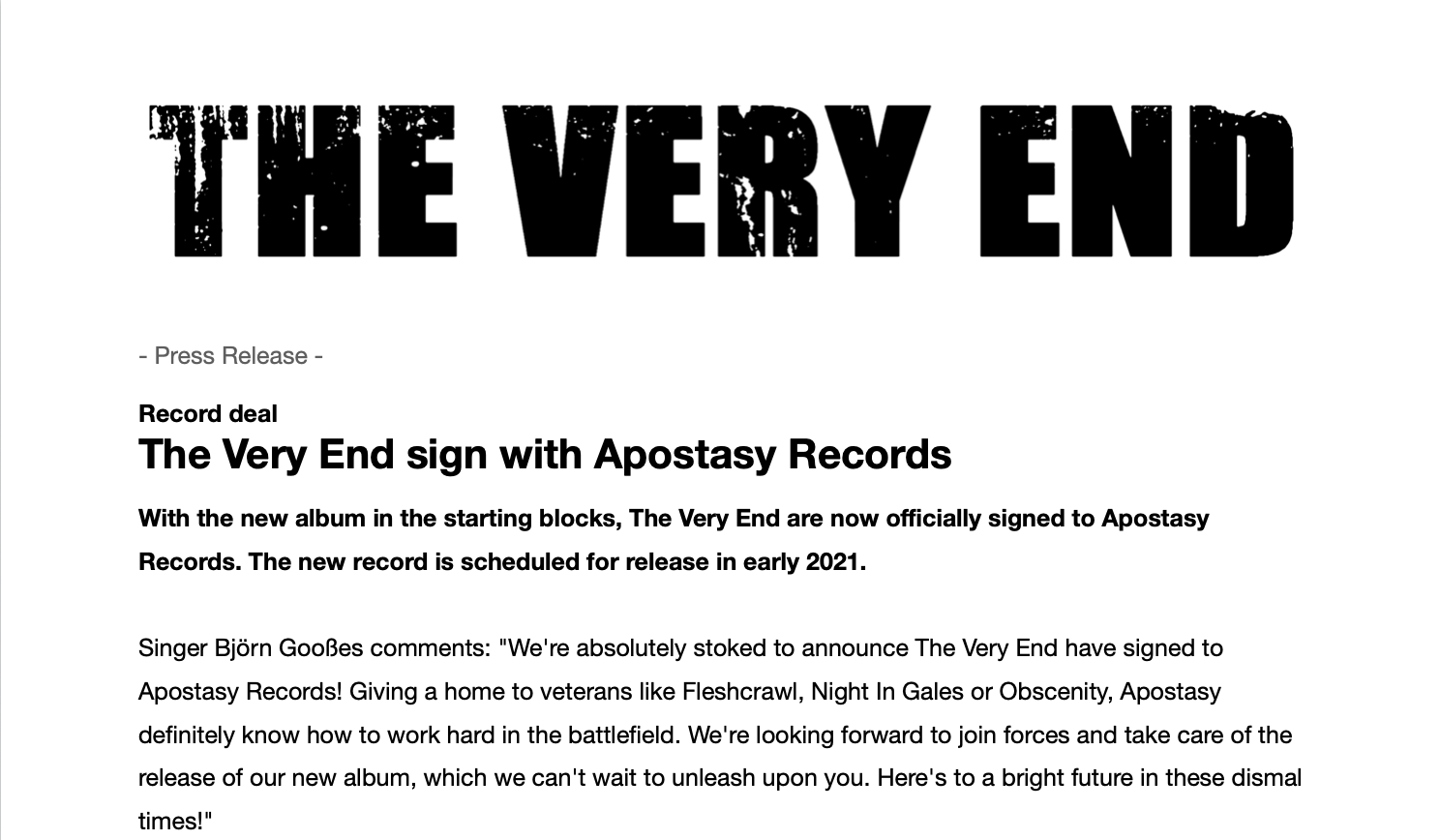 The Very End sign with Apostasy Records - press release
